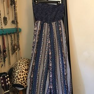 Blue floral light weight pant romper